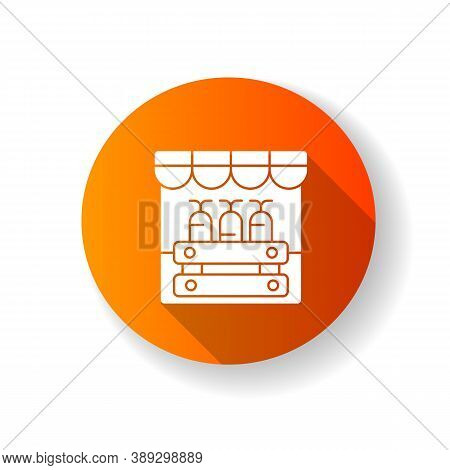 Farmers Market Orange Flat Design Long Shadow Glyph Icon. Grocery Shopping, Local Marketplace. Stree