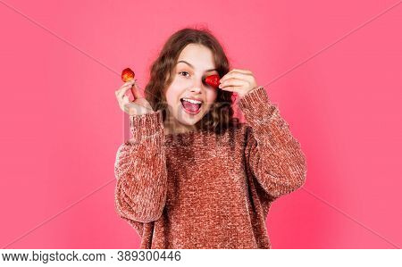 Healthy Breakfast. Vitamin Concept. Juicy Berry. Summer Berries. Girl Eating Fresh Natural Strawberr