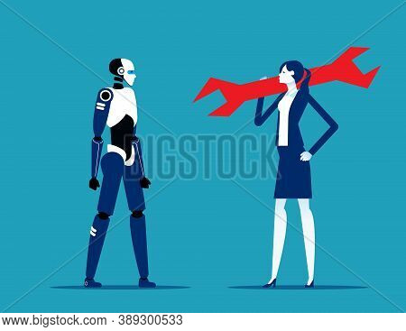 Business Person With Huge Wrench Stand Near Cyborg. Robotics Engineering