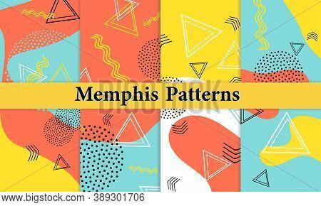 Set Of Doodle Fun Patterns. Summer Doodle Background. 90s Memphis Pattern. Vector Illustration. Hips