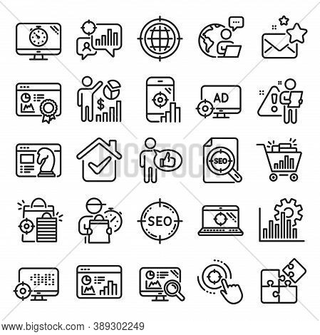 Seo Line Icons. Set Of Increase Sales, Business Ad Strategy And Website Optimization Icons. Puzzle,