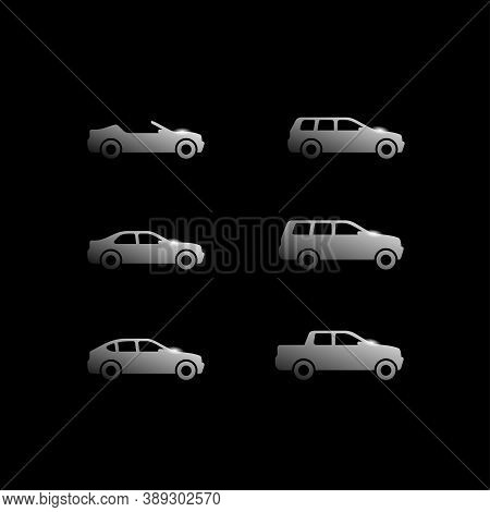 Vector Cars On Black Background - Set Of Vector Automobiles With Different Car Body - Sedan, Offroad