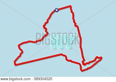 New York Us State Bold Outline Map. Glossy Red Border With Soft Shadow. Two Letter State Abbreviatio