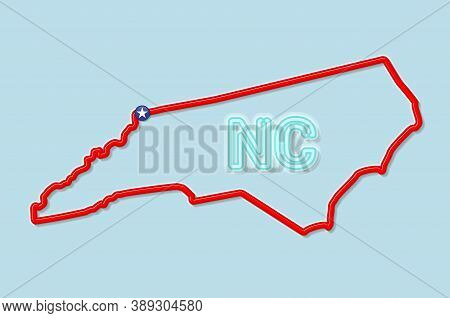 North Carolina Us State Bold Outline Map. Glossy Red Border With Soft Shadow. Two Letter State Abbre