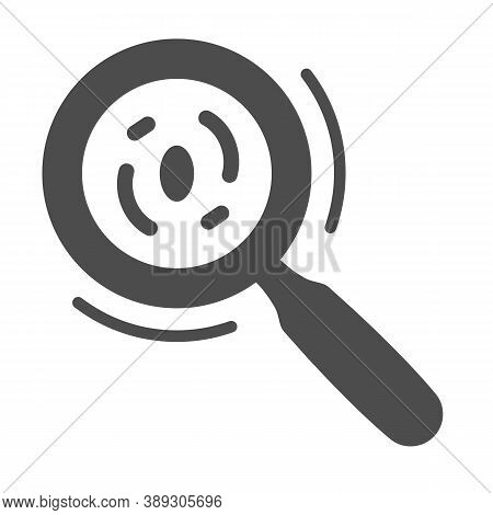 Microorganisms Under A Magnifying Glass Solid Icon, Science Concept, Bacteria And Germs Under Magnif