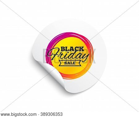 Black Friday Sale Sticker. Circle Sticker With Offer Banner. Discount Banner Shape. Coupon Tag Icon.