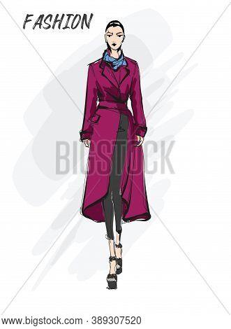 Beautiful Young Dark Hair Woman In Autumn Coat. Hand Drawn Fashion Girl. Fashion Model Posing. Sketc