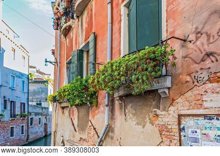 Venice, Italy - May 23, 2013: Typical Window In A House In Italy