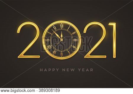 Happy New Year 2021. Golden Metallic Luxury Numbers 2021 With Gold Shiny Watch With Roman Numeral An