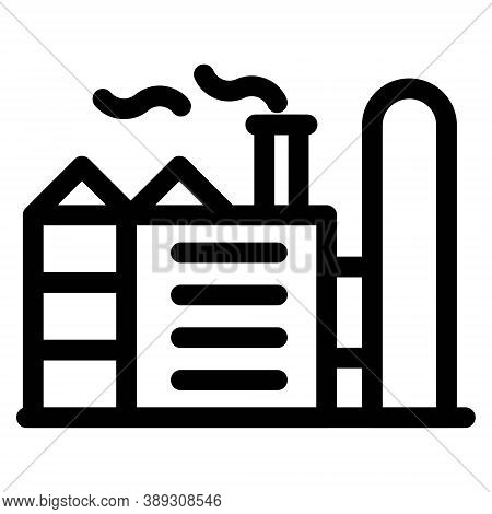 Factory Icon In Line Style. Industry Plant Symbol. Oil Refinery Sign. Energy Pollution Concept For P