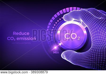 Carbon Dioxide Emissions Control Concept. Reduce Co2 Level. Wireframe Hand Turning A Carbon Dioxide