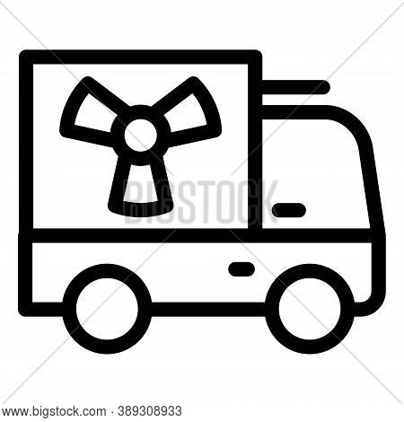 Truck Nuclear Energy Icon. Nuclear Cargo Transportation Symbol. Hazard, Danger, Radiation Sign.