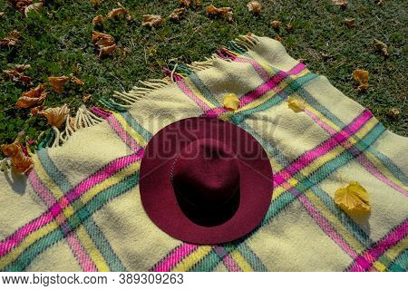 The Angle Of Checkered Blanket With Fringes, Red Fedora, On Green Grass With Yellow Fallen Leaves. F