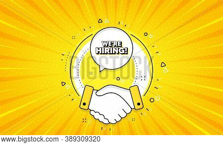 Were Hiring Symbol. Yellow Vector Button With Handshake. Recruitment Agency Sign. Hire Employees Sym