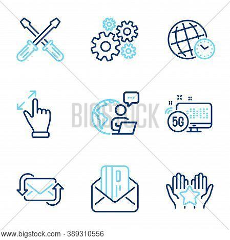 Technology Icons Set. Included Icon As Time Zone, Screwdriverl, Credit Card Signs. 5g Internet, Cogw