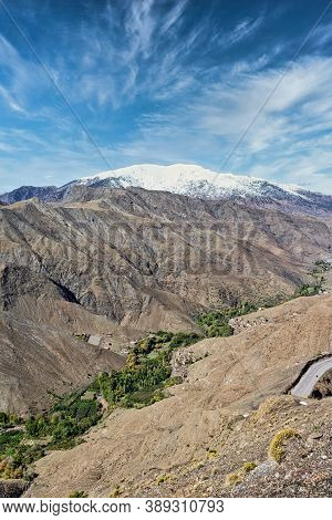 View Of The High Atlas Mountains And The Winding Road, Morocco, North Africa.