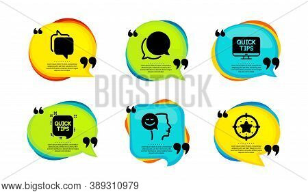 Web Tutorials, Messenger And Good Mood Icons Simple Set. Speech Bubble With Quotes. Chat Message, Qu