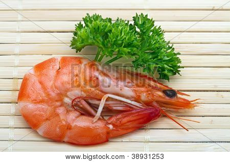 Shrimp with parsley close up