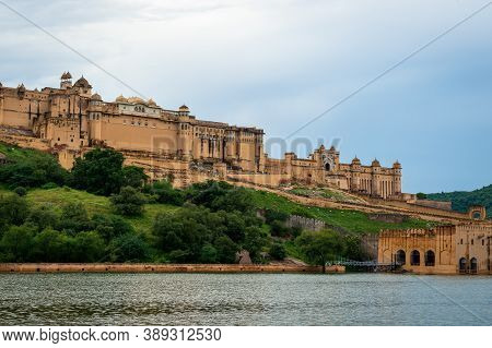 Jaipur, Rajasthan, India, September 7, 2020 : Intricately Carved Gateway Amer Fort Palace With Maota