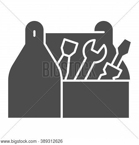 Tool Box Solid Icon, House Repair Concept, Wooden Toolbox Sign On White Background, Toolbox With Too