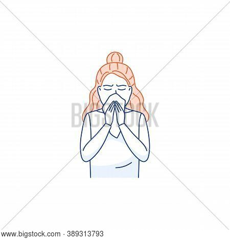 Sneezing Woman Covers Mouth Nose With Tissue Isolated On White. Cough, Sneeze Into A Handkerchief Th