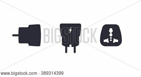 Smartphone Usb Charger Adapter In Different View. Side View. Aerial View. Front View. Plug Adapter