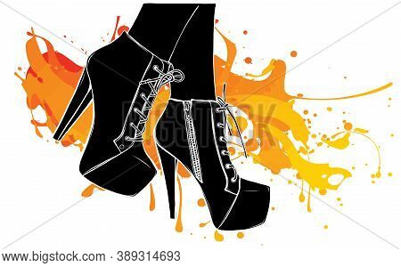 Vector Girls In High Heels. Black Silhouette Fashion Illustration. Female Legs In Shoes. Cute Design