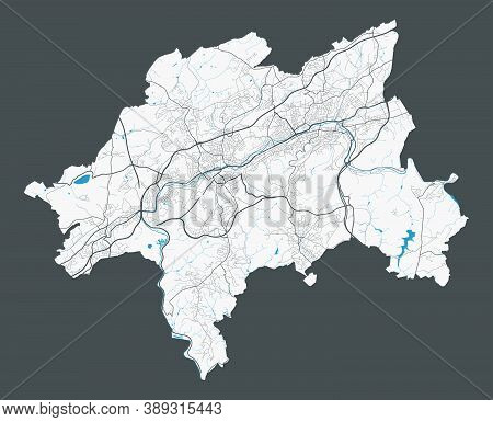 Wuppertal Map. Detailed Map Of Wuppertal City Administrative Area. Cityscape Panorama. Royalty Free