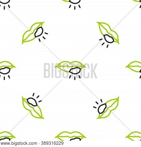 Line Herpes Lip Icon Isolated Seamless Pattern On White Background. Herpes Simplex Virus. Labial Inf
