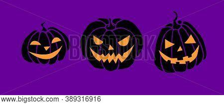Simple Smiling Black Lit Halloween Pumpkin Isolated On Dark Purple Background. Jack Lantern. Vector