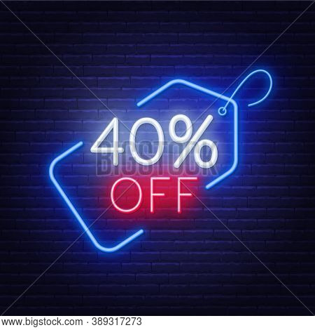 40 Percent Off Neon Sign On A Dark Background.