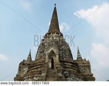 Ayutthaya, Thailand, January 24, 2013: Stupa In The Ruins Of Ayutthaya, Ancient Capital Of The Kingd