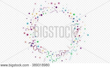 Bright Confetti Happy Vector Panoramic Transparent Background. Celebration Particles Poster. Serpent