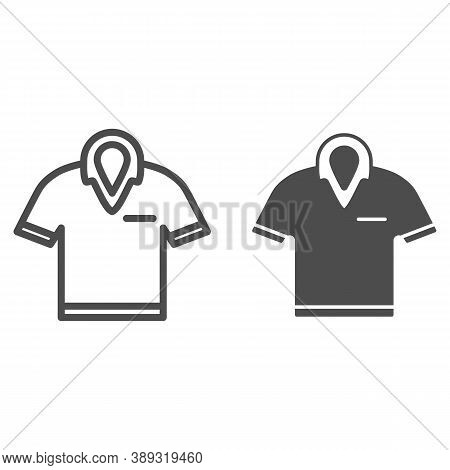 Golf Polo Shirt Line And Solid Icon, Golf Concept, T-shirt Sign On White Background, Polo Shirt Icon
