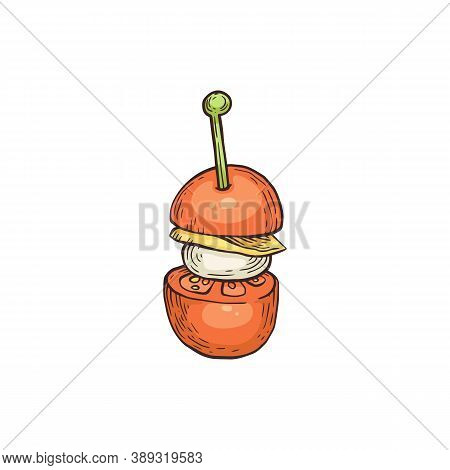 Tomato And Cheese Banquet Snack On Skewer, Sketch Vector Illustration Isolated.