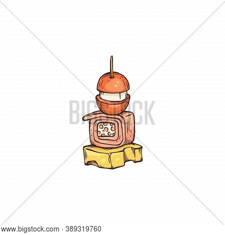 Appetizing Snack With Tomato On Skewer Sketch Vector Illustration Isolated.