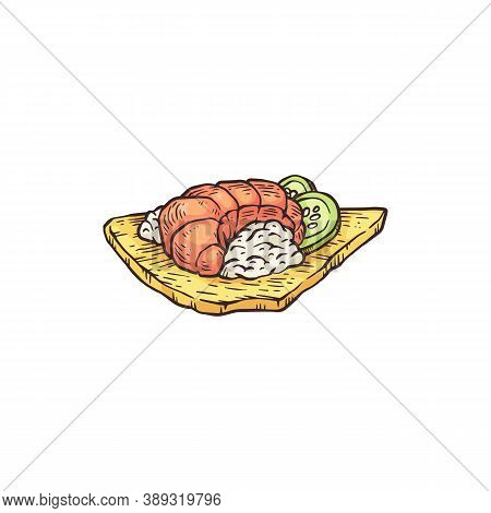 Seafood Appetizer Dish - Hand Drawn Shrimp On Rice Meal