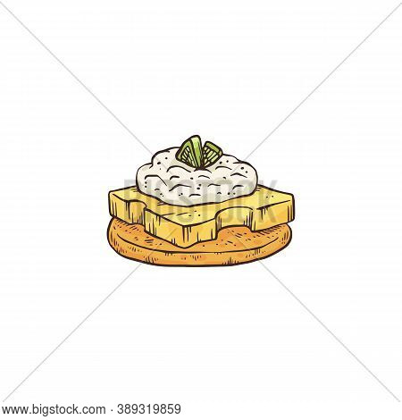 Appetizer Or Canape With Sorts Of Cheese Sketch Vector Illustration Isolated.