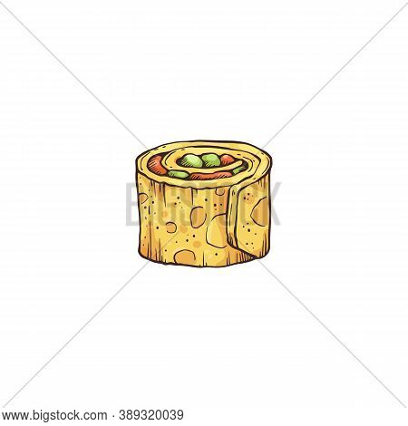 Small Bite Of Roll Or Appetizer Sketch Cartoon Vector Illustration Isolated.