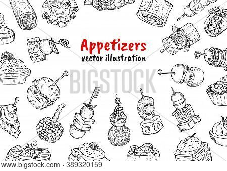 Appetizer Food Poster Background - Black And White Drawing Set