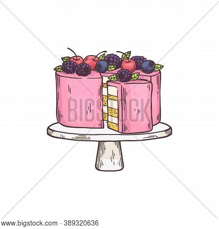 Cake Dessert On Plate For Teatime, Flat Cartoon Vector Illustration Isolated