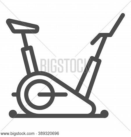 Exercise Bike Line Icon, Gym Concept, Stationary Bike Sign On White Background, Fitness Cycling Icon