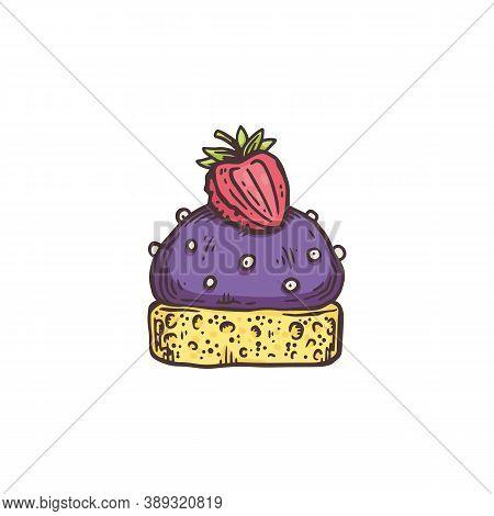 Sketch Teatime Dessert Cupcake, Flat Cartoon Vector Illustration Isolated