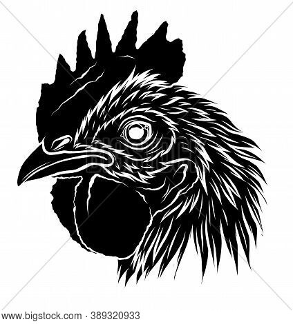 Black Silhouette Rooster.a Handdraw And Sketch In Vector Illustration.