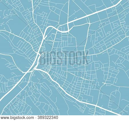 Detailed Map Of Bielefeld City Administrative Area. Royalty Free Vector Illustration. Cityscape Pano