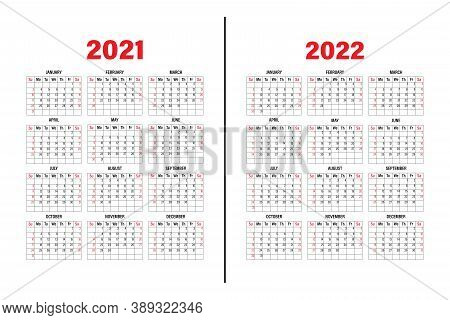 Calendar Template 2021 And 2022. The Design Of The Calendar In Black And White, Weekend In Red Tones