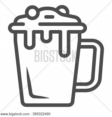 Hot Chocolate In Mug Line Icon, Chocolate Festival Concept, Hot Chocolate Sign On White Background,