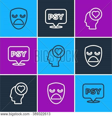 Set Line Drama Theatrical Mask, Broken Heart Or Divorce And Psychology, Psi Icon. Vector