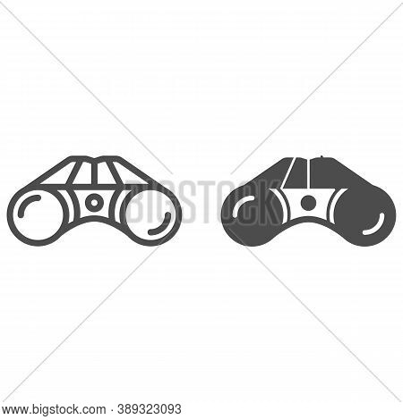 Binoculars Line And Solid Icon, Equipment For Golfing Concept, Binocular Field Glasses Sign On White
