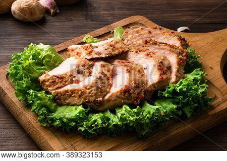 Chicken Breast Sous-vide, Sous Vide Chicken Fillet On Green Lettuce Leaves